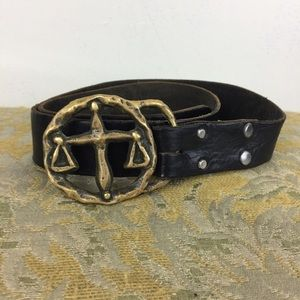 1960's/1970's Libra Brass Belt Hippie Leather Belt